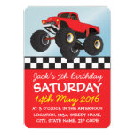 Boys Red Monster Truck Personalized Birthday 5x7 Paper Invitation Card