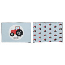 Boy's Red Tractor Pattern with Children's Name Pillow Case