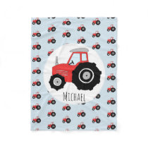 Boy's Red Tractor Pattern with Name Children's Fleece Blanket