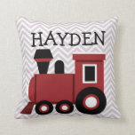 Boys Red Train Personalized Pillow