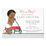 Boys Red Wagon Baby Shower Card