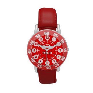 Boys red white name wrist watch