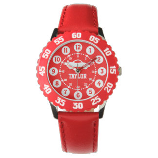 Boys red white name wrist watch