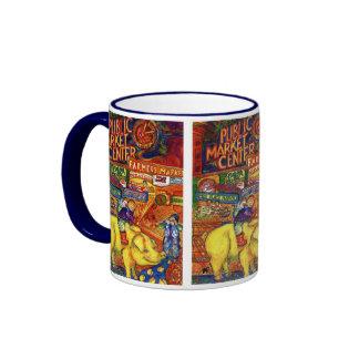 Boys Riding Pig Ringer Mug