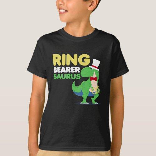 Boys Ring Bearer Dinosaur Rex Wedding Party T_Shirt