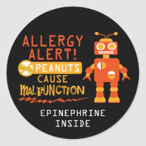 Boys Robot Peanut Allergy Alert Personalized Classic Round Sticker