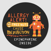 Boys Robot Tree Nut Allergy Alert Personalized Classic Round Sticker