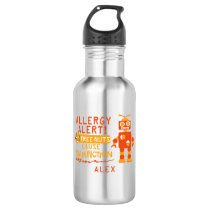 Boys Robot Tree Nut Allergy Alert Personalized Stainless Steel Water Bottle