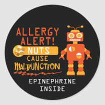 Boys Robot Tree Nut Peanut Allergy Alert Classic Round Sticker