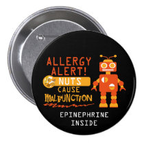 Boys Robot Tree Nut Peanut Allergy Alert Pinback Button