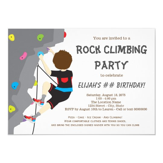 Boys Rock Climbing Birthday Party Invitation Zazzle Com