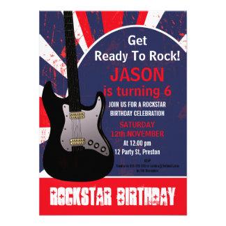 Boys Rock Star Guitar Birthday Invitation