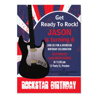 Boys Rock Star Guitar Birthday Invitation