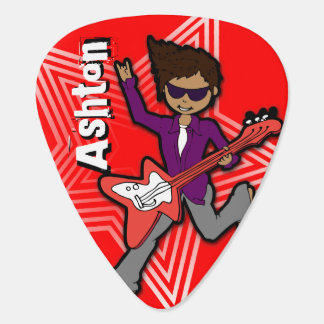Boys rock star kids personalized red guitar pick