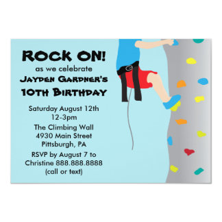 Boy's Rock Wall Climbing Birthday Party 4.5x6.25 Paper Invitation Card