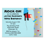 Boy's Rock Wall Climbing Birthday Party 4.5x6.25 Paper Invitation Card