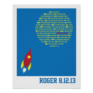 Boys Rocket Alphabet for Boys Room &  Baby Showers Print