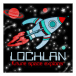 Boys rocket space customized blue red poster