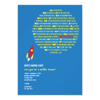 Boys Rocket Stellar Shower Invitations