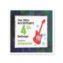 Boy's Rockstar Birthday with Red Guitar Napkin
