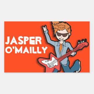 Boys rockstar name orange id label sticker
