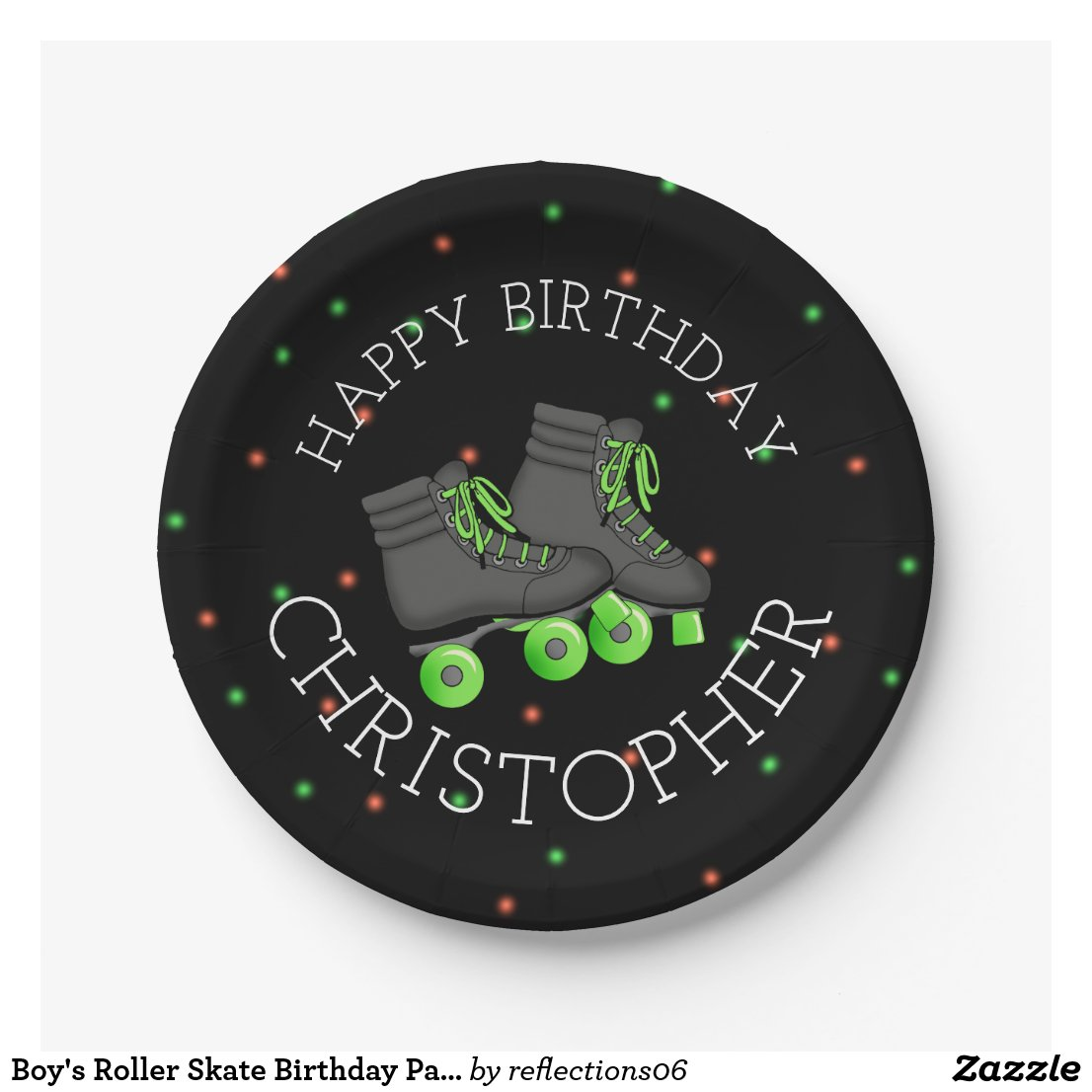 Boy's Roller Skate Birthday Party Paper Plate