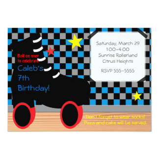 Boys Roller Skate Skating Party Invitation