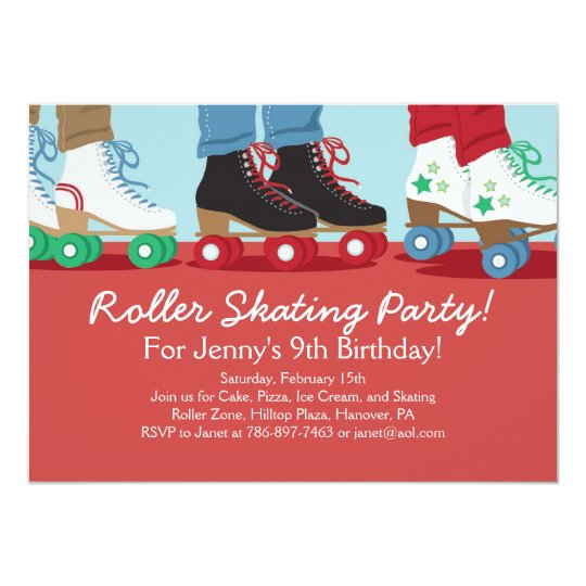 boys roller skating party invitations | zazzle, Party invitations