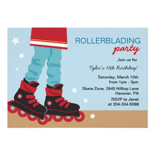Boys Rollerblading Birthday Party Invitations