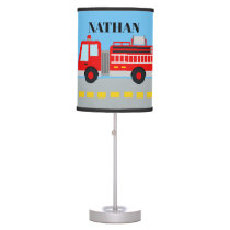 Boys room add name firetruck decor lamp