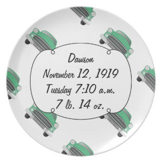 Boys Room Classic Car Gifts Sweet Green Retro Car Dinner Plates