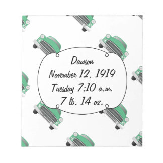 Boys Room Classic Car Gifts Sweet Green Retro Car Note Pad
