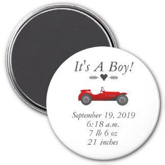 Boys Room Classic Car Gifts Sweet red Retro Car 3 Inch Round Magnet
