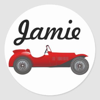 Boys Room Classic Car Gifts Sweet red Retro Car Classic Round Sticker