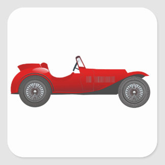 Boys Room Classic Car Gifts Sweet red Retro Car Square Sticker