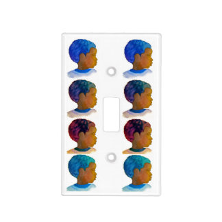 Boys room decor switch plate silhouette Afros