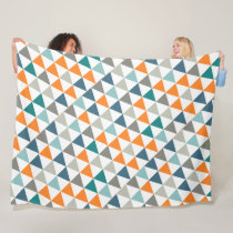Boys Room Modern Abstract Triangle Pattern Fleece Blanket