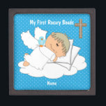 """BOYS Rosary Beads Keepsake Box Personalized<br><div class=""""desc"""">NOTE: This is for the box only! ------------------------------------------------------------------------------------------------- When a new baby boy or girl is Christened they are gifted a very special keepsake set of Rosary Beads. This cute personalized keepsake memory box is for storing those very special beads. The rosary bead box can be personalized with your son...</div>"""