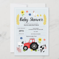 Boys Rustic Blue Farm Tractor Baby Shower Invitation
