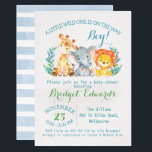 "Boy&#39;s Safari Animals Baby Shower Invitation<br><div class=""desc"">Are you looking for a boy&#39;s watercolor safari animals baby shower invitation? This sweet design features a cute giraffe, elephant and lion on a scanned watercolor paper background. I&#39;ve used a decorative brush calligraphy font for the name. The back of the invitation is a baby blue watercolor striped pattern. More...</div>"