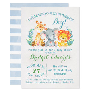 Boy S Safari Animals Baby Shower Invitation