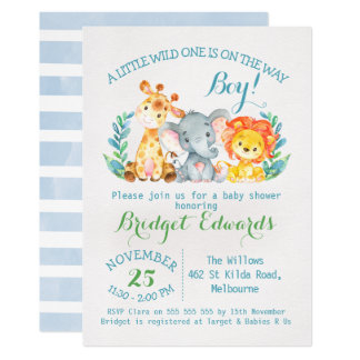 Boy's Safari Animals Baby Shower Invitation