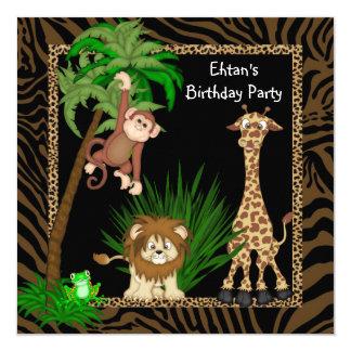 Boys Safari Birthday Party 5.25x5.25 Square Paper Invitation Card