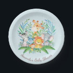 "Boys Safari Jungle Baby Shower 7&quot; Plate<br><div class=""desc"">Cute safari jungle animals featuring a zebra,  hippo,  elephant,  lion,  monkey &amp; giraffe with an assortment of jungle leaves set on a blue background.  Visit our shop to view our entire jungle safari baby shower collection!</div>"