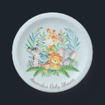 """Boys Safari Jungle Baby Shower 7&quot; Plate<br><div class=""""desc"""">Cute safari jungle animals featuring a zebra,  hippo,  elephant,  lion,  monkey &amp; giraffe with an assortment of jungle leaves set on a blue background.  Visit our shop to view our entire jungle safari baby shower collection!</div>"""