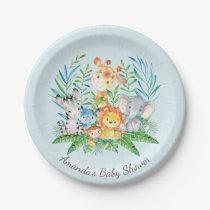 """Boys Safari Jungle Baby Shower 7"""" Plate"""