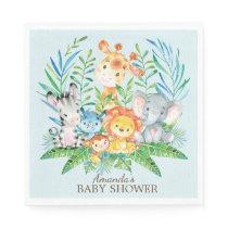Boys Safari Jungle Baby Shower Paper Napkins