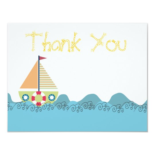 Boys Sail Boat Birthday Thank You Note Cards