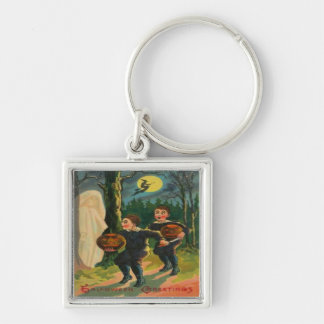 Boys Scared By A Ghost Silver-Colored Square Keychain