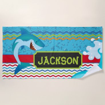 Beach Themed Boys Shark Personalized with name Beach Towel